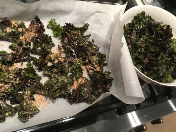 Kale on the tray